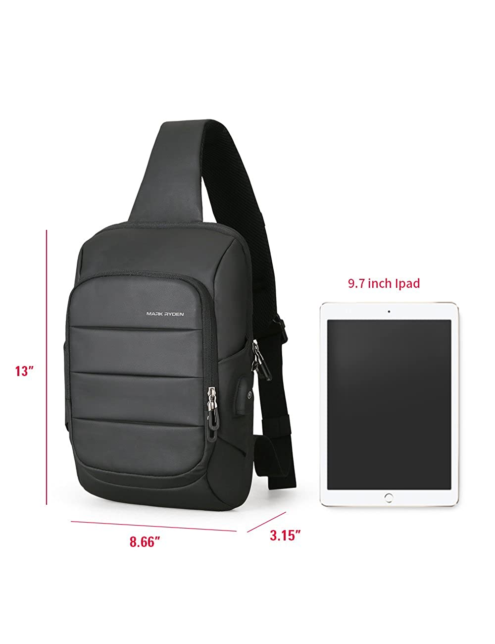 Anti Theft Sling Bag Shoulder Chest Cross Body Backpack Lightweight Casual Daypack for 11 inch ipad pro