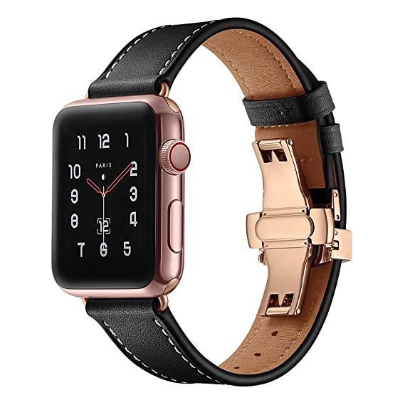 12dc3ec1588531 Image Unavailable. Image not available for. Color: DODUMI Butterfly Buckle  Wrist Leather Smart Watch Strap ...