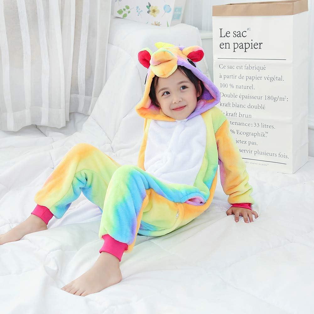 MMTX Pigiameria Unicorn Tutina Onesies Flanella Animal Character Sleepwear Nightwear Felpa con Cappuccio
