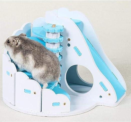 BVDFH Hamster Escalera Sleeping House erizo ardilla de madera castillo de juguete de Pequeños Animales de