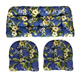 RSH Décor Indoor/Outdoor Wicker Cushions Two U-Shape and Loveseat 3 Piece Set Freeport Summer Blue with Yellow Flowers