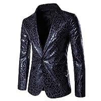 Tidecc Men's Slim Fit Casual One Button Suits Coat Leopard Print Blazer Business Jacket Coats