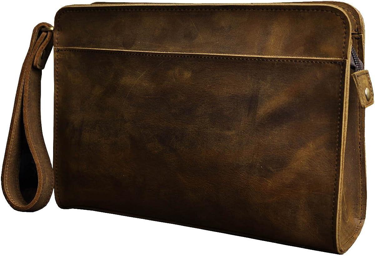 Leaokuu Mens Leather Business Briefcase Messenger Shoulder Clutch Hand Bag Wristlet