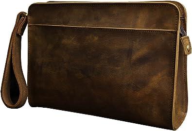 Mens Briefcase Business Bag Clutch Handbag Genuine Leather Crossbody Messenger File Bag Wristlet Wallet Purse