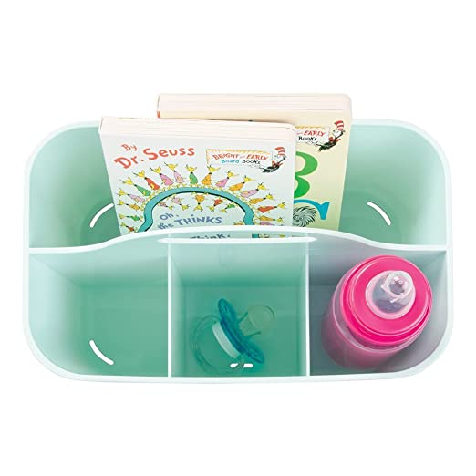 mDesign Cesta de bebé - Cesta organizadora de juguetes, champú, termómetro, cremas - Bolsa de bebé color menta: Amazon.es: Hogar