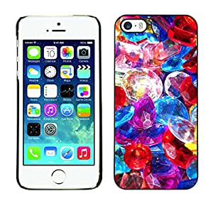 Qstar Arte & diseño plástico duro Fundas Cover Cubre Hard Case Cover para Apple iPhone 5 / iPhone 5S ( Precious Stones Pile Jewelry Colorful Glass)