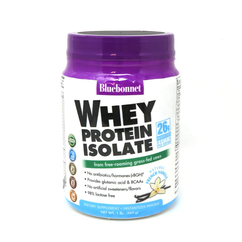 Bluebonnet Nutrition Whey Protein Isolate Powder, Whey From Grass Fed Cows, 26g of Protein, No Sugar Added, Non GMO, Gluten Free, Soy free, kosher Dairy, 1 Lb, 14 Servings, French Vanilla Flavor by Bluebonnet