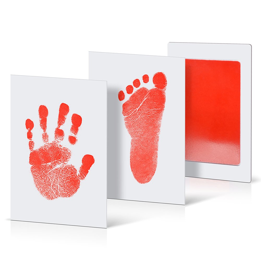 Pet Paw Print Ink Kits PChero 4 Packs Baby Handprint and Footprint Ink Pads Non-Toxic and Clean-Touch Print Kits for Infant Newborn Baby Registry Shower Gift Keepsakes