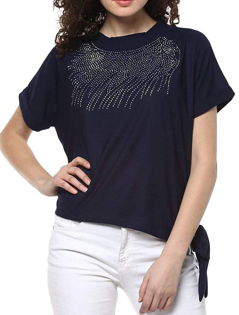 5073478eba5 Triumphin Blue Women Short Tshirt Top for Jeans Plastc Sparkling Beads  Hosiery Top for Daily wear Stylish Casual and Western Wear Party Wear Women  Girls ...