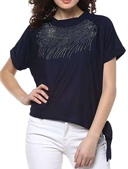 61d9244770 ... Short Tshirt Top for Jeans Plastc Sparkling Beads Hosiery Top for Daily  wear Stylish Casual and Western Wear Party Wear Women Girls Tops. 3.8 out  of 5 ...