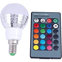 LEDMOMO 3W E14 LED Color Changing Light Bulb Dimmable RGB LED Bulb with Remote Contorl for Home Decoration, Bar, Party 85-265V