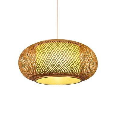 Araña de madera natural rural de bambú tejido rejilla linterna ...