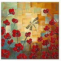 Wieco Art Dragonfly Floral Pinturas al óleo sobre lienzo Arte de la pared Listo para colgar en el dormitorio Cocina Comedor Decoraciones para el hogar Moderno 100% Pintado a mano Estirado y enmarcado Flores abstractas Obras de arte 24x24