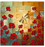 Wieco Art Dragonfly Modern Flowers Artwork 100% Hand Painted Stretched and Framed Floral Oil Paintings on Canvas Wall Art Ready to Hang for Bedroom Kitchen Dining Room Home Decorations