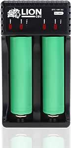 Lioncell LC200 18650 Cargador de pilas doble batería recargables Li-Ion / Ni-Mh (18650, 26650, 26500, AA, AAA etc.) Duo Estación de carga 2 ranuras con indicador de estado LED