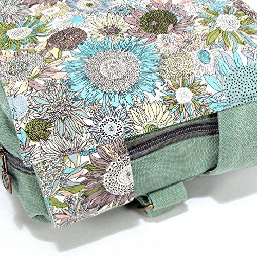 Chang Spent Mochila simple de la bolsa de lona del hombro ocasional de las mujeres , green Green
