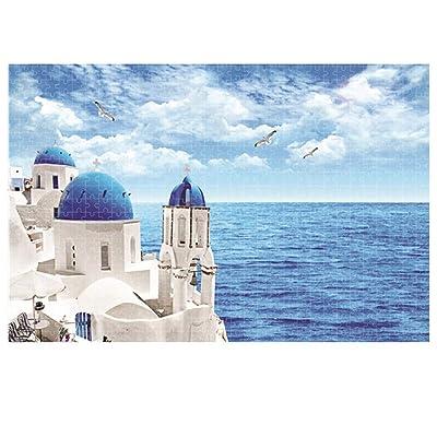 Outeck 1000 Piece Puzzles for Adults Puzzle, Santorini Aegean Sea Landscape Jigsaw Puzzle, Wall Décor: Toys & Games