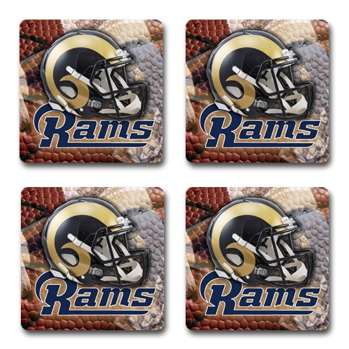 Rams Rubber Square Coaster set (4 pack) Great Gift Idea St. Louis Rams Football - Louis Rams Rubber
