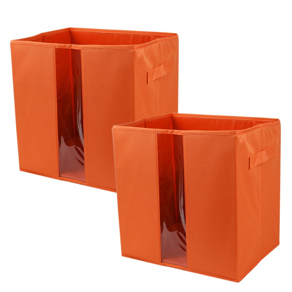 (2) x Foldable Canvas Storage Cubes, Collapsible Cabinet Closet Bins, Folding Toy/Cloth Organization Basket Cubicles, Nursery Square Drawer Boxes with Transparent Window (Orange)