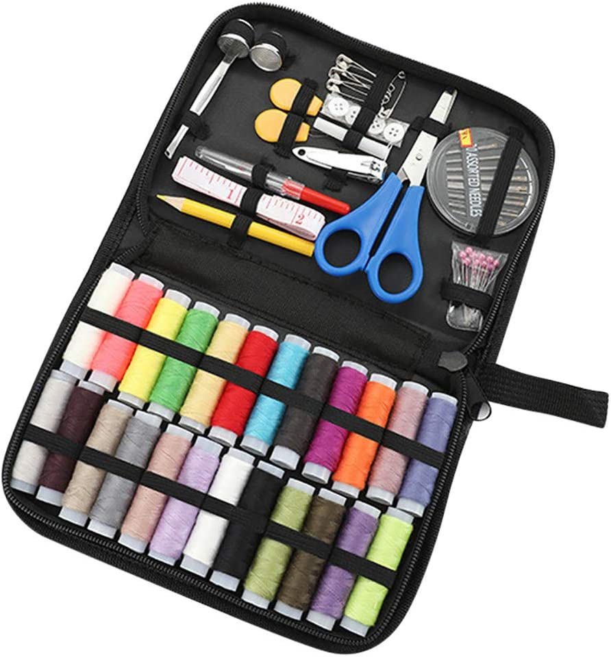 Kids Adult Beginners FAMOORE 46 Pcs Sewing KIT A Summer Campers Sewing Supplies for DIY Travel and Home