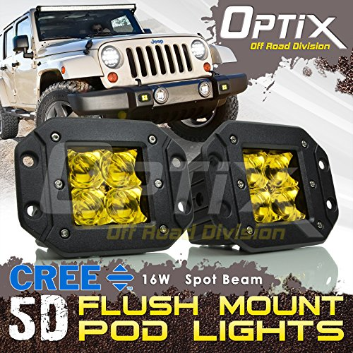 Optix P.RA 2X 16W 5D CREE LED Driving Light Bar Spot Fog Pod Lights Yellow Headlight - Flush Mount 4