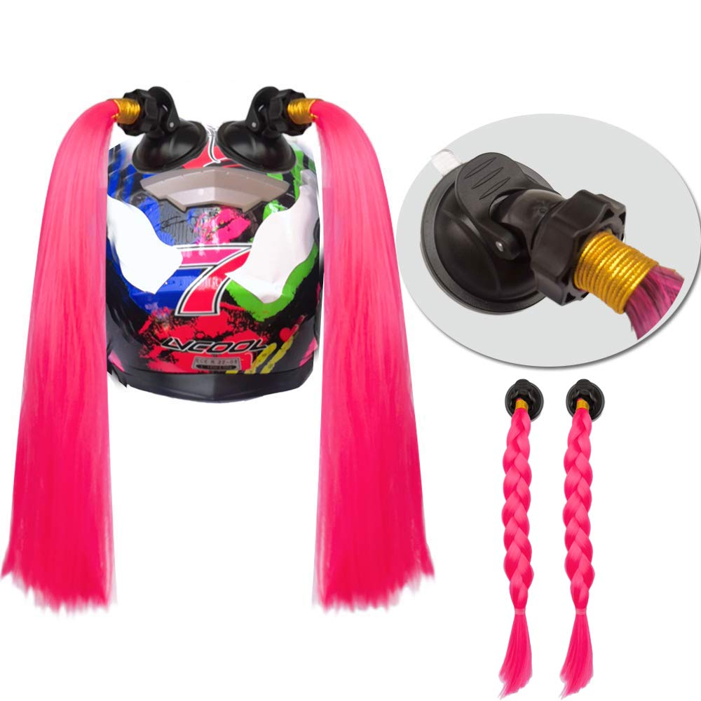 3T-SISTER Pigtails for Helmets Works on Matte Helmets Hair Decoration for Motorcycle Bike Bicycle 2PCS 14inch