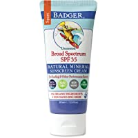 Badger - SPF 35 Zinc Oxide Sport Sunscreen Cream - Unscented - Broad Spectrum Water Resistant Reef Safe Sunscreen, Natural Mineral Sunscreen with Organic Ingredients 2.9 fl oz