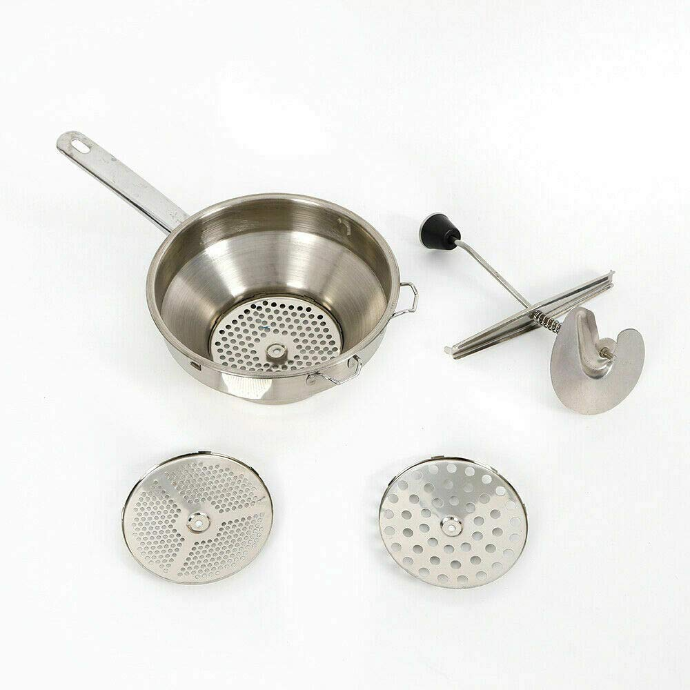 ees.Stainless Steel Vegetable Food Mill Mouli Ricer With 3 Milling Disc Professional by ees.