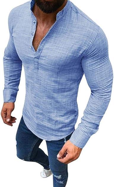 Camisetas de Manga Larga Hombres, SHOBDW Jersey de Lino con ...