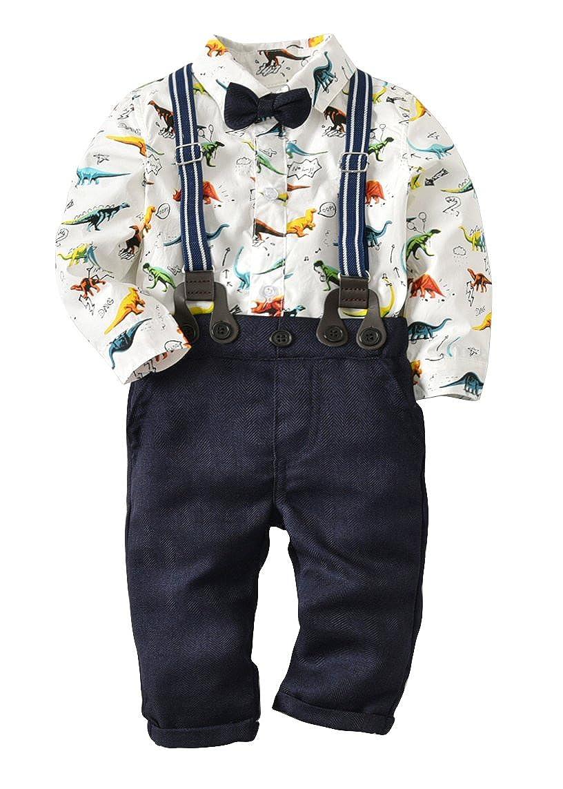 Kids Little Boys Gentleman Suits Set Bowtie Shirt Bid Short Overalls Clothes Set Pinleck