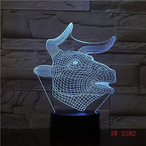 Ox Luz De Noche 3D Led Luminaria Novedad Touch Lámpara De Mesa 7 ...