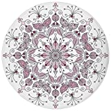Round Rug Mat Carpet,Purple Mandala,Lacy Pastel Floral with Butterfly and Lotus Figures Meditation Design Decorative,White Light Pink,Flannel Microfiber Non-slip Soft Absorbent,for Kitchen Floor Bathr