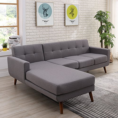 - Container Furniture Direct S0121L-2PC Andy Linen Upholstered Midcentury Modern Left-Sided Sectional Sofa, 69.29