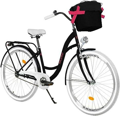 Milord Bikes Bicicleta de Confort Negro y Rosa de 1 Velocidad y 26 Pulgadas con Cesta y Soporte Trasero, Bicicleta Holandesa, Bicicleta para Mujer, Bicicleta Urbana, Retro, Vintage: Amazon.es: Deportes y aire