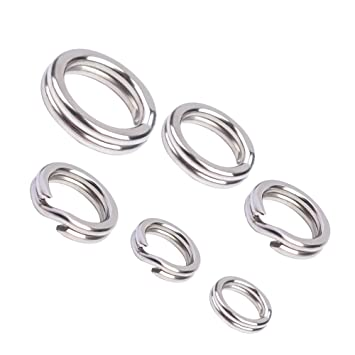 Amazon.com: 100pcs/lot pesca de acero inoxidable anillos de ...