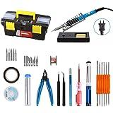 Kit de soldador, Volador 220V 60W soldadura eléctrico regulador de temperatura, 5pcs puntos diferentes, Bomba desoldadora, pinza, espuma, soporte y caja de herramientas