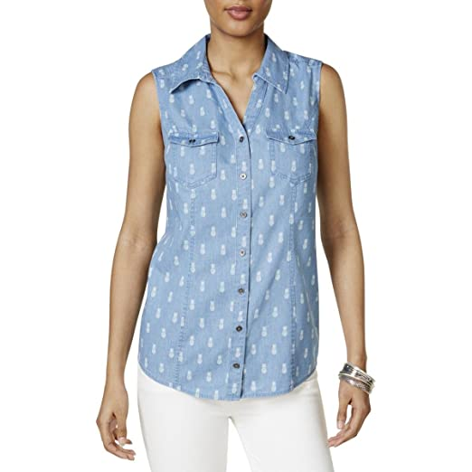 5b78f5e3a3 Style   Co. Womens Button Down Pineapple Button-Down Top Blue XL at ...