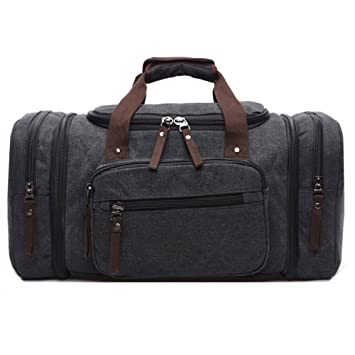 d3f85cbdef67 AIZBO Large Canvas Holdall Travel Duffel Bag Overnight Weekend Weekender  Bags for Men and Women