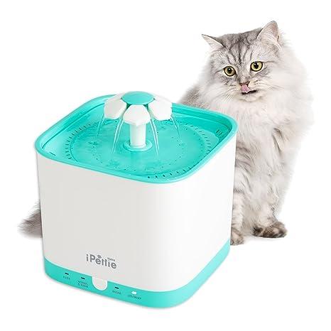 Dispensador de agua iPettie Neko NS Smart para gatos y perros, 2 litros, tipo fuente con bomba súpersilenciosa y filtro de sustitución