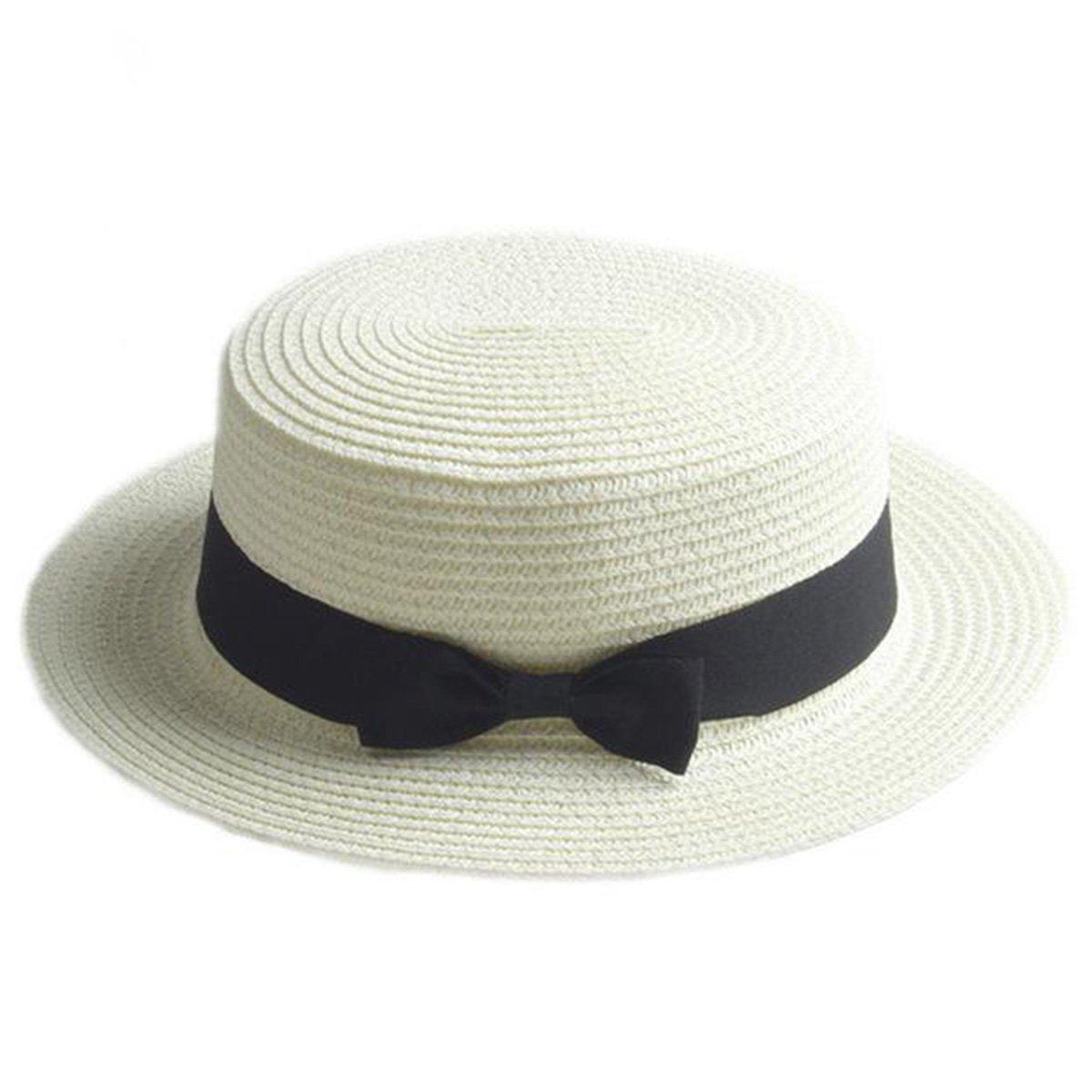 Boater Hat Sombrero de paja para mujer Bowknot Round Flat Top Brim Sombrero  de paja Summer 0171e4d5166