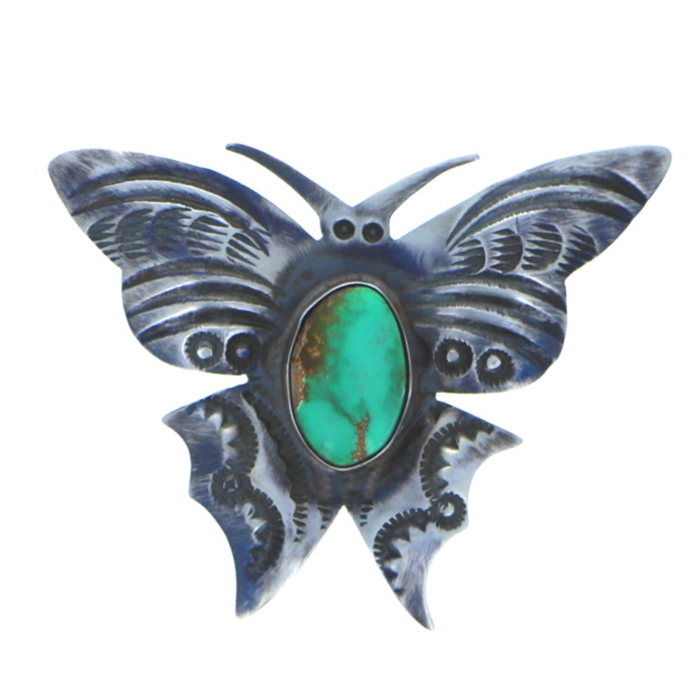 Sterling Silver 925 Carico Lake Turquoise Butterfly Pin Pin