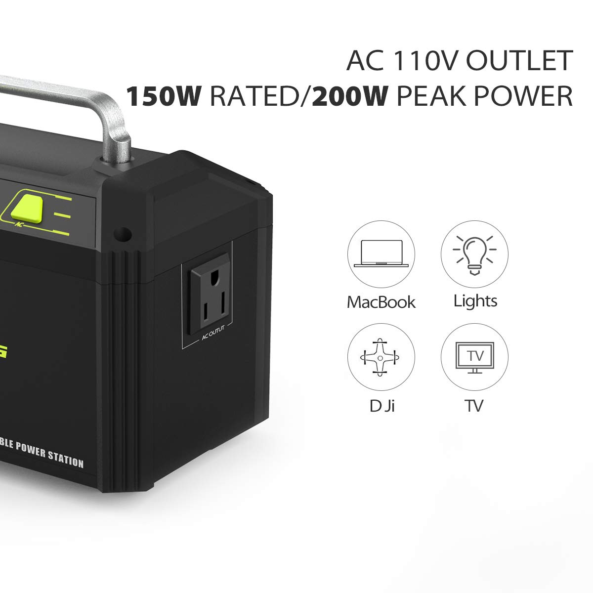 ROCKPALS 178Wh 48000mAh Portable Generator CPAP Battery Pack for Camping, 150W Solar Power Generator Power Station with 110V AC Outlet, 12V Car, USB Output for Home Emergency Backup by ROCKPALS (Image #2)