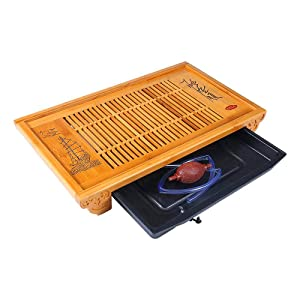Ufine Large Tea Serving Tray 19.7 in Large Bamboo Wood Chinese Gongfu Tea Set Table Tray Box With Water Storage Drainage Tray for 6 Adults Tea Ceremory Party in Home Office Restaurant Reception Room