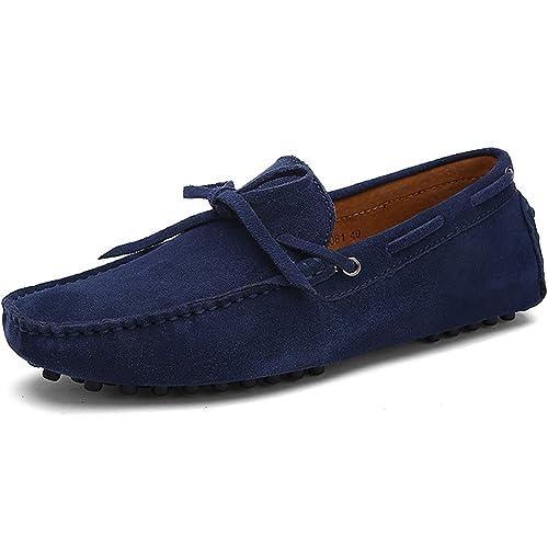 Jamron Hombres Suave Gamuza Mocasines de Conducción Zapatos Hecho a Mano Zapatillas Talla Grande: Amazon.es: Zapatos y complementos