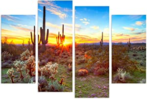 sechars - 4 Piece Canvas Wall Art Amazing Sunset in Arizona Sonoran Desert Landscape Painting Saguaro Cactus Pictures Canvas Print Southwest Decor for Home Living Room Ready to Hang