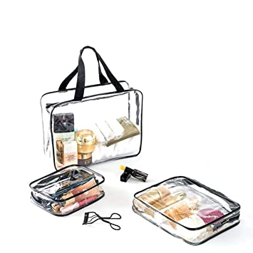 Bolsas de Aseo Transparente Neceser PVC Impermeable Mujer Bolsa de Cosmético Organizador de Viaje Neceser de Viaje Transparente 3 Piezas