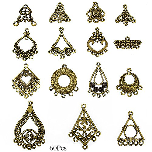LolliBeads (TM) Antiqued Bronze Earring Chandelier Earring Jewelry Making Kit for Earring Drop and Charm Pendant Assorted Pack (60 Pcs)