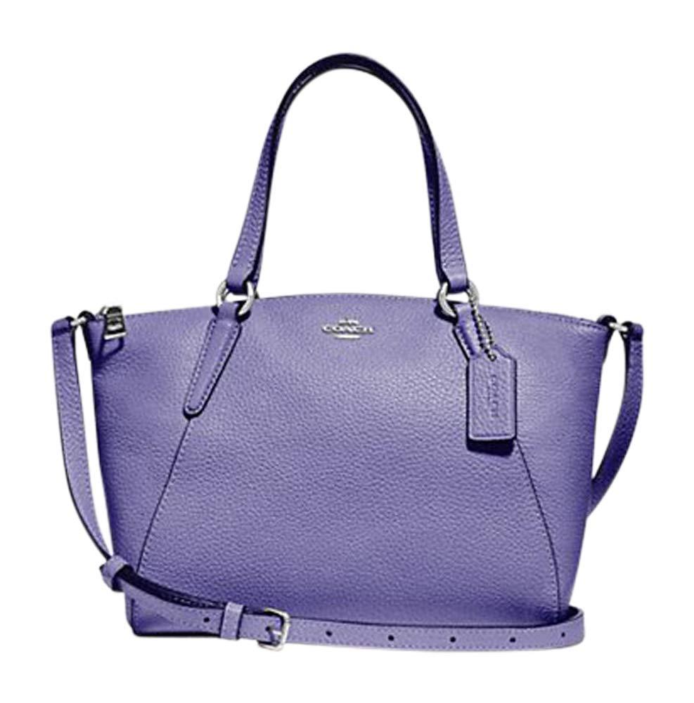 Coach Pebble Leather Mini Kelsey Satchel Crossbody Handbag (SV/Light Purple)