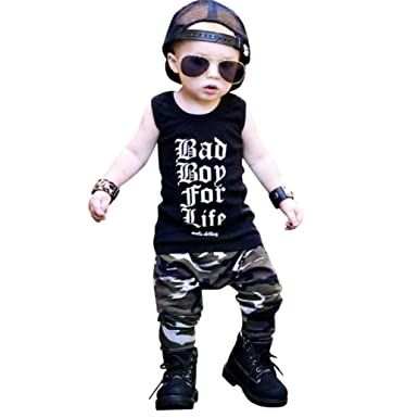 0f69b1064be8 Amazon.com  DIGOOD Toddler Baby Boys Letter Print Vest+Camouflage ...