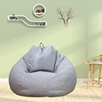 Bean Bag Chair Cover Without Filling Lazy Lounger Bean Bag Storage Chair Cover Solid Color Simple Design Recliner Gaming…